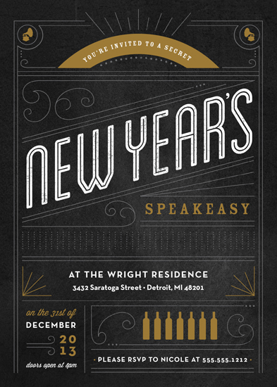 party invitations - New Year's Speakeasy by Genna Cowsert