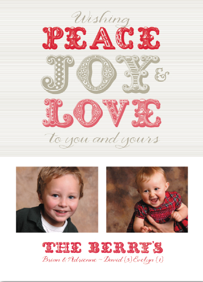 holiday photo cards - Wood Type : Peace, Joy & Love by Adrienne Berry