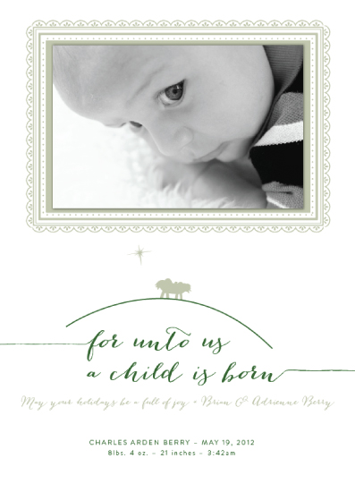 holiday photo cards - A Child Is Born by Adrienne Berry