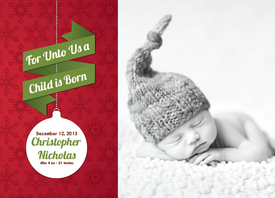 holiday photo cards - For Unto Us Birth Announcement by KtRazz