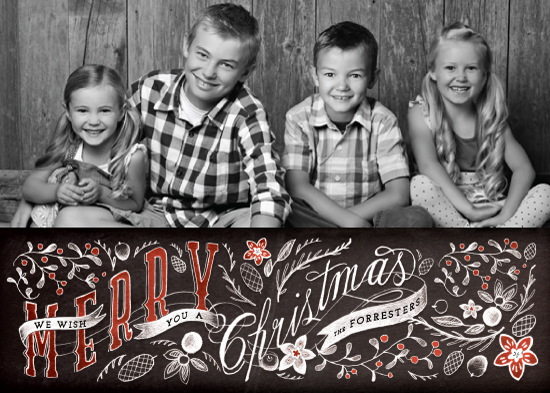 holiday photo cards - Hand Lettered Merry Christmas Chalk by Becky Nimoy