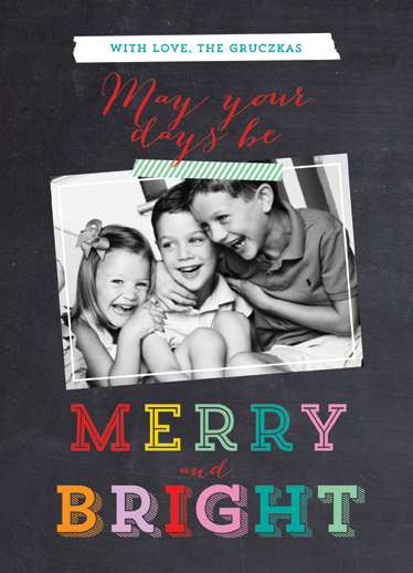 holiday photo cards - Merry & Bright Chalkboard by Danielle Colosimo
