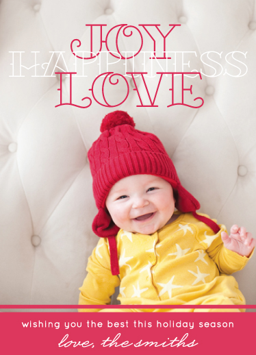 holiday photo cards - Joy Love Happiness by Stella Bella Invites
