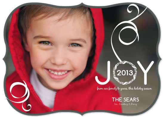 holiday photo cards - Joy Ribbon & Wreath by Courtney Smith