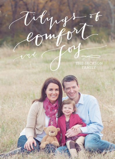 holiday photo cards - Calligraphy Tidings by la Happy