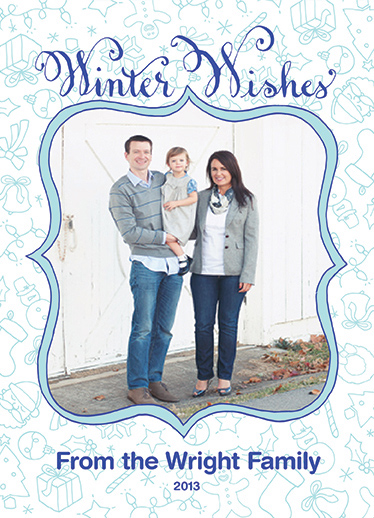 holiday photo cards - Hand Drawn Winter Wishes by Mallory and Lyndsay
