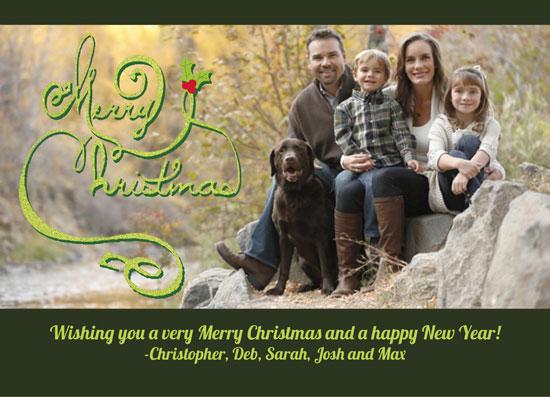 holiday photo cards - Holly Script by Annie Skrmetti