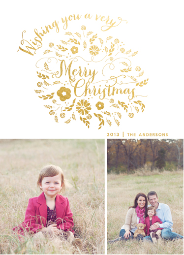holiday photo cards - Christmas Wishes Wreath by Danielle Colosimo