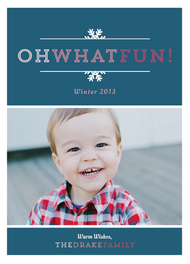 holiday photo cards - Oh What Fun Snowflake Border by Danielle Colosimo