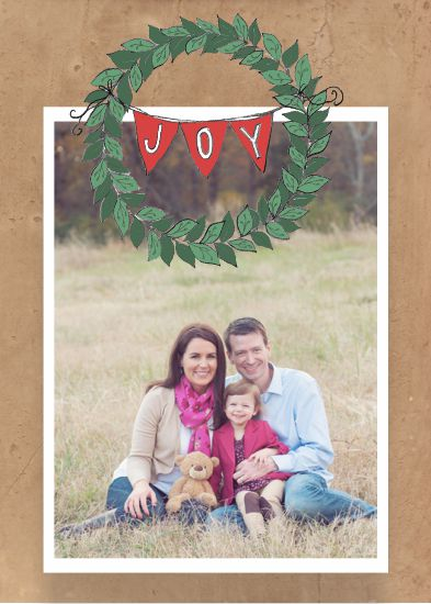 holiday photo cards - Joyful Wreath Pinup by Tomi Ann Hill