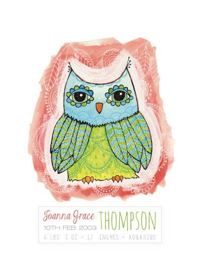 art prints - Whimsical Owl Girls Birth Details by Pip Gerard