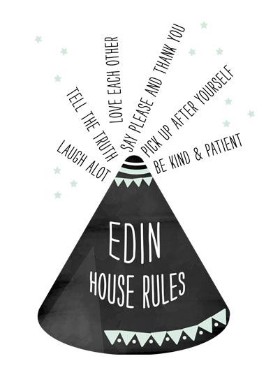 art prints - Tepee House Rules by Asato Design