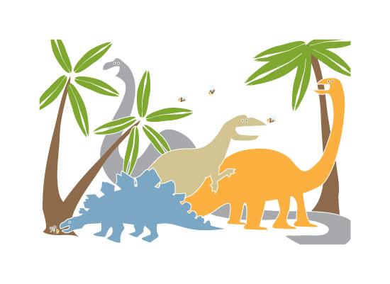 art prints - Big Happy Dinosaurs by Little Miss Missy