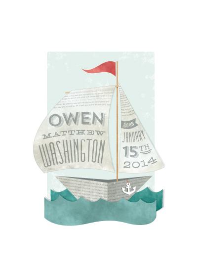 art prints - Newspaper Sailboat by Susie Allen