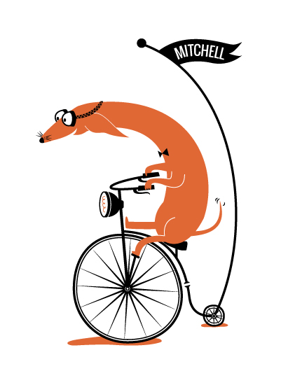 art prints - Cycling Sausage by Kayla King