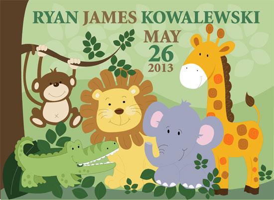 art prints - Jungle Animals Birth Announcement by Jessie Schueler