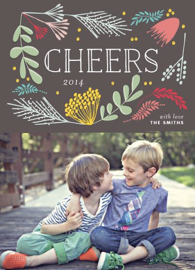 new year's cards - Cheers Floral by Phrosne Ras
