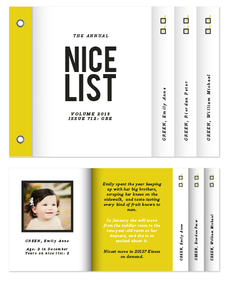 minibook cards - annual nice list by Up Up Creative