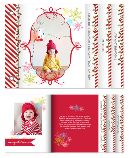 minibook cards - Candy Canes & Happy Sparkly Lights by Lilly Chern