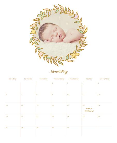 calendars - Delicate Wreath by Monica Schafer