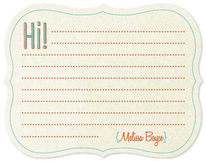 personal stationery - Hi! by Melissa Boyce