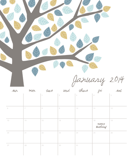 calendars - Blue Tree by Haley