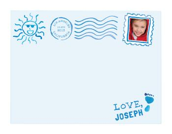 children's blue watercolor postcard