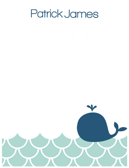 personal stationery - Whale and Waves by Haley
