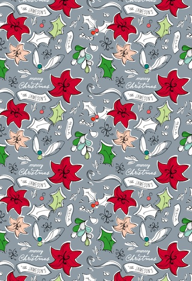 gift wrap - Holly Toss by Kelly Ventura