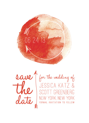 save the date cards - watercolor and arrows by Jessie Katz