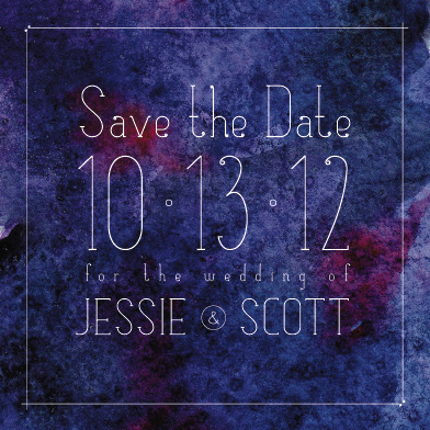 save the date cards - watercolor galaxy by Jessie Katz