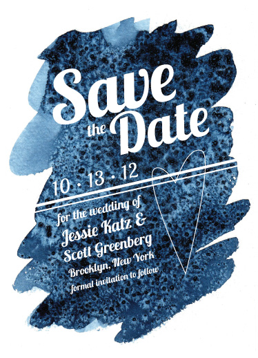 save the date cards - deep blue watercolor by Jessie Katz
