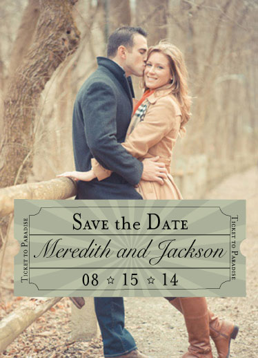 save the date cards - Ticket to Paradise by Cindy Jost