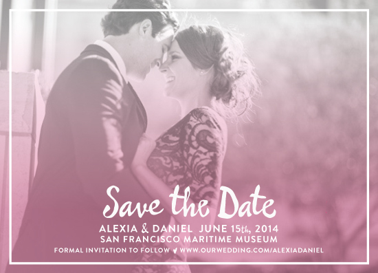 save the date cards - Ombre script by Paper Monkey Press