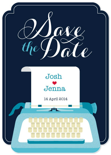 save the date cards - Vintage Typewriter Love Story by The Wondery