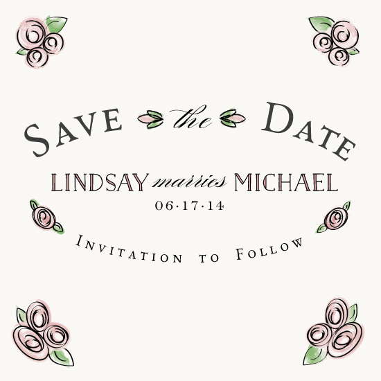 save the date cards - Roses with Watercolor by From Tiffany