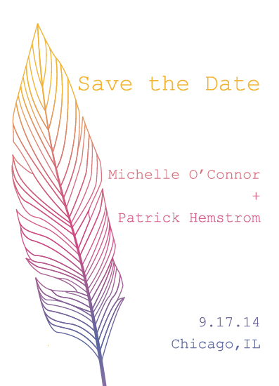 save the date cards - Feather + Sunset by From Tiffany