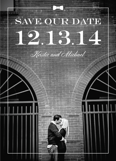 save the date cards - Bow Tie Black and White by From Tiffany