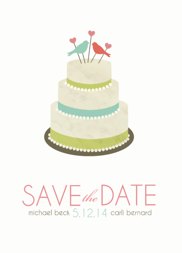 save the date cards - Simple Dotty Wedding Cake by Katie Zimpel