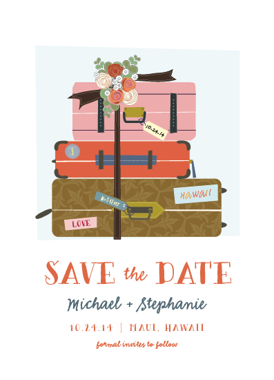 save the date cards - Luggage by Rebecca Bowen