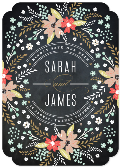 save the date cards - Chalkboard Floral by Kristie Kern