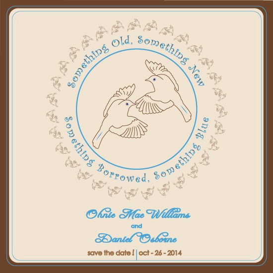save the date cards - Soaring Lovebirds by Tree Stokes