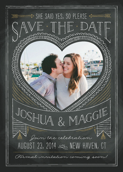 save the date cards - Chalkboard Heart by Ann Gardner