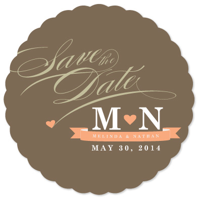 save the date cards - Monogram Love Heart by Creative Elements