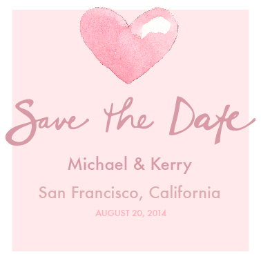 save the date cards - Pink Heart in Watercolor by Kathryn Cole