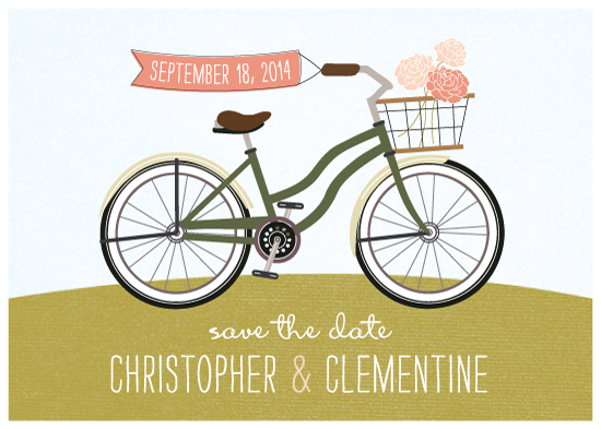 save the date cards - Vintage Bicycle by Brie Zacher