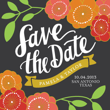 save the date cards - Floral Save the Date by Lauren Heffron
