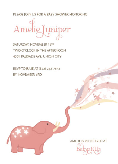 baby shower invitations - Starry Elephant by Ivy Skye Jaquez