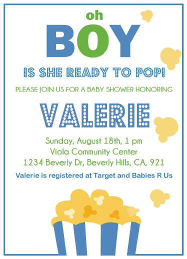 Baby Shower Invitations Ready To Pop Popcorn At Minted