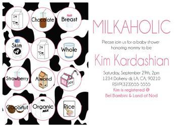 Milkaholic baby shower invitation